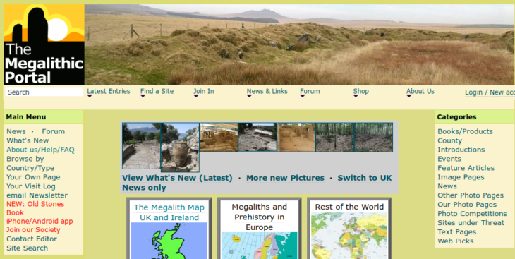 Screenshot of the Megalithic Portal homepage.
