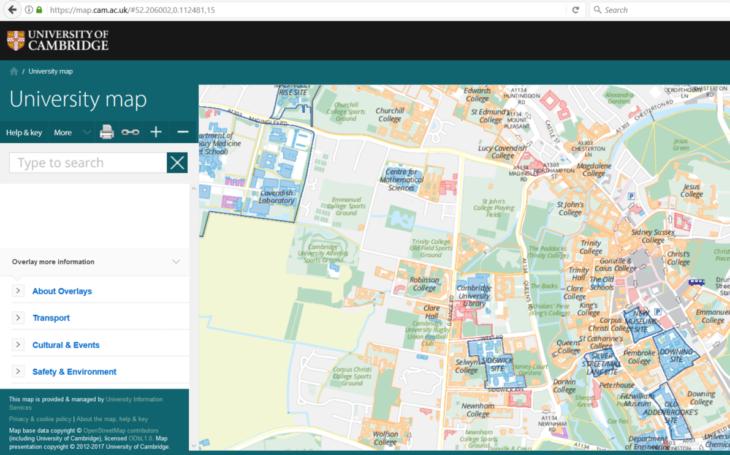 Cambridge university map using OpenStreetMap data.